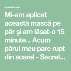 Mi-am aplicat această mască pe păr şi am lăsat-o 15 minute... Acum părul meu pare rupt din soare! - Secretele.com Healthy Nutrition, Hair Inspiration, Hair Beauty, Hair Styles, Food, Pharmacy, Therapy, The Body, Hair Plait Styles