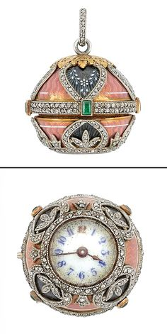 Belle Epoque Platinum, Gold, Pink and Blue Guilloche Enamel, Diamond and Emerald Pendant-Watch, circa 1900