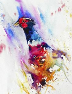 Watercolour painting of a pheasant