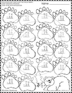 Winter Subtraction with Regrouping Printables 1st Grade Math, Third Grade, Math Activities, Teaching Resources, Niklas, Material Didático, Subtraction Worksheets, Grande Section, Addition And Subtraction