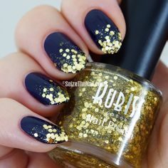 Rich navy blue with gold glitter gradient