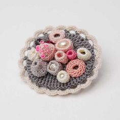 Crochet brooch, coral inspired, grey and pink, ELINtm, one of a kind brooch,
