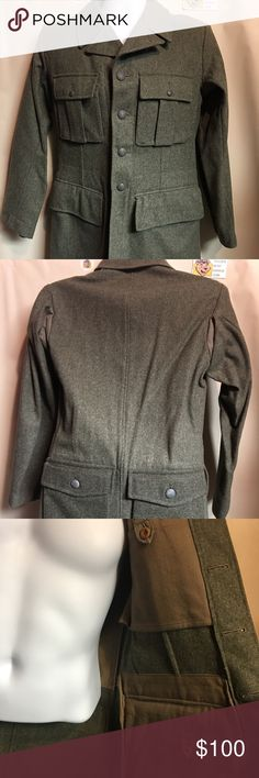 Authentic German Military Issued 6 Pocket Pea Coat Rare, Authentic Vintage German Military Issued 6 Pocket Pea Coat. Purchased this at Army Surplus Store I Goldberg in Philly in the 90's. My wife never wore it. Don't know why because it's amazing. Features 4 front pockets, 2 Back Pockets and 2 inside pockets. Fits like Women's Medium. Can provide exact measurements if Interested. This jacket is very old and is from the 1940's. No lowball offers on this Vintage Jackets & Coats Pea Coats