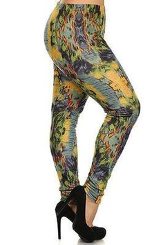 a7499a14956f3 Women s Plus Size Abstract Print Brushed Faux Fur Lined Leggings