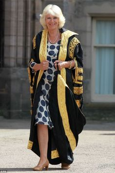 Radiant and beautiful Camilla presents new graduates with their degree certificates at the University of Aberdeen ( july 2014 )