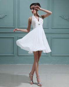 Halter Chiffon Beading A-line Short dress