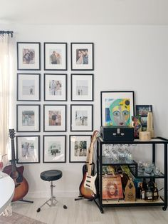 Studio Apartment, Apartment Therapy, Office Makeover, World Market, Picture Wall, Frames On Wall, House Tours, Mid-century Modern, Gallery Wall