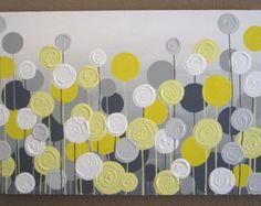 Artículos similares a Amarillo, gris y blanco con textura flor arte, 24 x 30 listo para enviar, pintura de acrílico moderna en Etsy