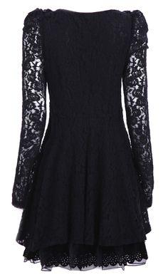 Black Long Sleeve Yoke Lace Dress