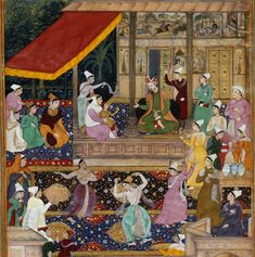 Akbar is re-united with his mother Hamida Bano Begum after an absence of two years. This scene, from the Akbarnāmah, takes place in the women's quarters. One of the ladies is almost certainly Gulbadan Begum sister of Humayun.