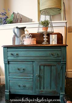 FARMHOUSE – INTERIOR – early american decor inside this vintage farmhouse seems perfect, like this old washstand cheered up with miss mustard seed milk paint.