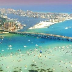Crab Island & Harbor in Destin, Fl.  This is our Memorial Day fun...find the red boat lol