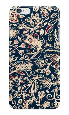 """Navy Garden - floral doodle pattern in cream, dark red & blue"" iPhone Cases by micklyn 