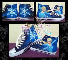 Custom Painted Converse Style Disney Frozen Shoes...I want these sooooooo bad!!!:O