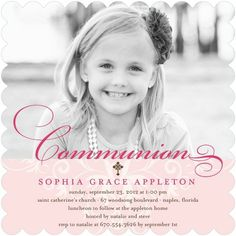 Memorable Moment - #Communion Invitations - Hello Little One - Blush Pink
