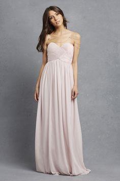 Strapless bridesmaid dress in palest pink