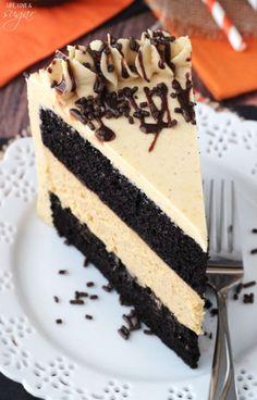 Pumpkin Chocolate Cheesecake Cake