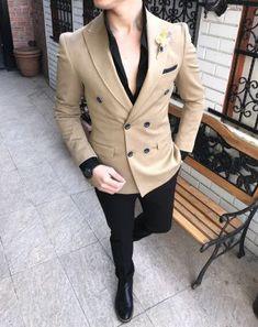 Terziademaltun – Italian style men's jacket pants double-breasted combination suit Blazer Outfits Men, Mens Fashion Blazer, Suit Fashion, Italian Mens Fashion, Indian Men Fashion, Black Suit Men, Suit For Men, Moda Formal, Mode Costume