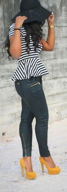 striped peplum // black leather zipper skinnies // yellow pumps