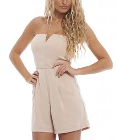 Love this Nude Notch Neck Romper by AX Paris on  zulily!  zulilyfinds Dress 75337ad4950