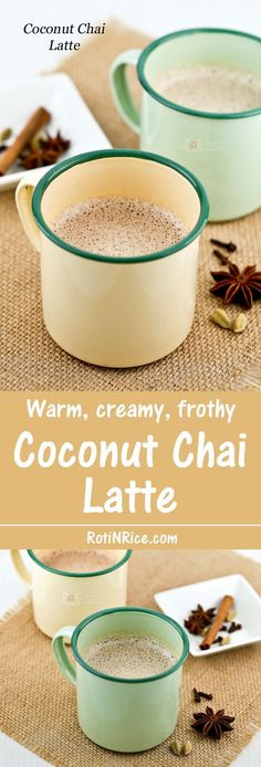 Warm, creamy Coconut Chai Latte infused with cinnamon, star anise, cloves, and cardamom. So delicious topped with frothy coconut milk. | Food to gladden the heart at http://RotiNRice.com