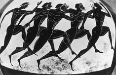 Olympic runners depicted on an ancient Greek vase given as a prize in the Panathenaea, circa 525 BC. Original Publication : Picture Post - 5953 - Where the Olympic Games Started - pub. 1952 Get premium, high resolution news photos at Getty Images Ancient Greek Olympic Games, Ancient Olympics, Olympics Facts, Olympic Runners, Greek Pottery, Greek Culture, Minoan, Greek Art, Ancient Artifacts