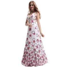 BALL????Ever-Pretty- -Ever Pretty NWT Printed Chiffon Sexy V-neck Empire Line Long Prom Dress 09607