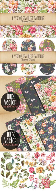 Seamless Tropical Flowers Vol 3 by Graphic Box | The Comprehensive, Creative Vectors Bundle Mar 2015 from Design Cuts