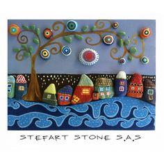 Pebble Art by StefArt Stone S.A.S 40x30 cm. #pebbles #pebbleart #stoneart #paintedstones #handmade #handpainted #personalizedgift #gift #etsytown #etsylovers #etsy #etsyshops #homedecor #walldecor #wallart