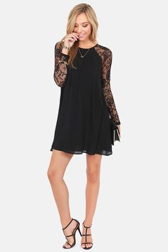 Lace In Point Black Lace Shift Dress at LuLus.com!