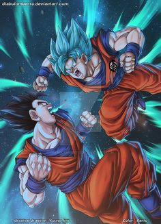 Gohan Vs Goku by diabolumberto on DeviantArt Dragon Ball Gt, Dragon Z, Manga Anime, Majin, Goku And Gohan, Manga Dragon, Dbz Characters, Fan Art, Marvel