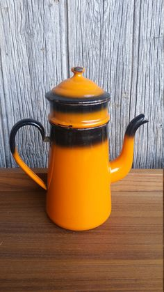 French Vintage Orange and Black Enamel by VintageVinnieFrance