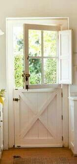 Dutch Door - I like the bi-fold doors on upper door, which closes at night for privacy.