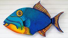 Handmade wooden Queen Trigger Fish beach art by BeachCreatures