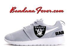 on sale e642e 42fd1 Custom Raiders Nike Roshe Run Shoes Grey,  Raiders,  raidersnation,   raidernation, by Bandana Fever