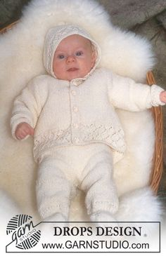 DROPS Baby - Jacket, pants/jumpsuit and hat in Baby-Merino - Free pattern by DROPS Design Baby Knitting Patterns, Knitting For Kids, Knitting Designs, Baby Patterns, Free Knitting, Crochet Patterns, Drops Design, Baby Set, Baby Design