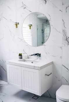 A boutique renovation company created by three best friends and busy mums. Learn how to renovate just like we do with THE RENO SCHOOL! Three Birds Renovations, Exterior House Colors, Bathroom Inspo, Round Mirrors, A Boutique, Foto E Video, Countertops, Vanity, Instagram