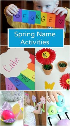Spring Name Activities – Fantastic Fun & Learning – The Ankle Biters – art therapy activities Name Activities Preschool, Art Therapy Activities, Preschool Lesson Plans, Spring Activities, Activities For Kids, Weather Activities, Preschool Curriculum, Alphabet Activities, Preschool Classroom