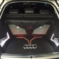 audi Q3 jl audio car stereo custom sub enclosure. angry eyes