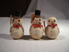 VINTAGE CHRISTMAS DECORATION SPUN COTTON SNOWMEN JAPAN  in Collectibles, Holiday & Seasonal, Christmas: Modern (1946-90), Figures, Santa | eBay