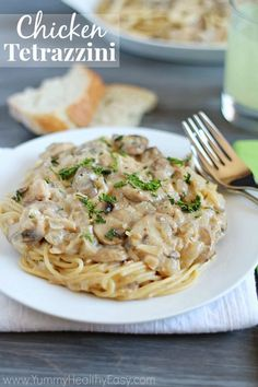 Chicken Tetrazzini | Easy, delicious & creamy chicken (or turkey) and mushroom mixture served over spaghetti.