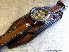 Scheletro di Steampunk orologio da polso orologio in pelle