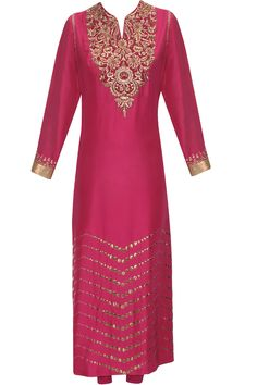 Magenta zardozi embroidered straight kurta set available only at Pernia's Pop Up Shop.