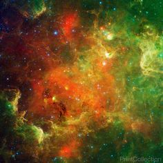 This swirling landscape of stars is known as the North America Nebula. In visible light, the region resembles North America, but in this image infrared view from NASA's Spitzer Space Telescope, the co