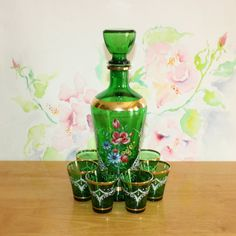 Vintage, Green Floral, Italian Decanter Set with 6 Glasses by cocoandcoffeevintage