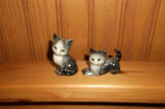 SET OF TWO MINIATURE / SMALL PORCELAIN - CERAMIC CAT FIGURINES in Collectibles, Animals, Cats, Figurines | eBay