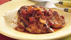 Enjoy this hearty pork  chops recipe that's skillet made using Cajun seasonings and zesty tomatoes - dinner ready in 15 minutes!