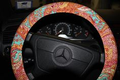 Steering Wheel Cover in Orange and Aqua . Paisley Wheel Cover . by SouthernAplus on Etsy