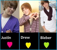 Justin Bieber♥  This gave me a idea I can put my first name first then middle name second then last name last.Then put picture of me (what you you see in the picture)