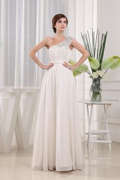 Beaded One Shoulder Lace With Empire Waist Floor-Length Evening Dress